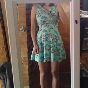 H&M Divided aqua floral skater mini dress